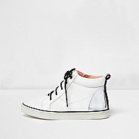 Girls white and silver high top trainers