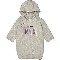 Mini girls grey sequin hoodie dress