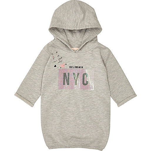 Mini girls grey sequin hoodie dress