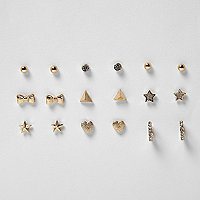 Girls gold tone stud earrings pack