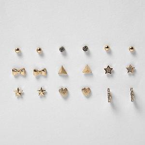 Girls gold tone stud earrings pack