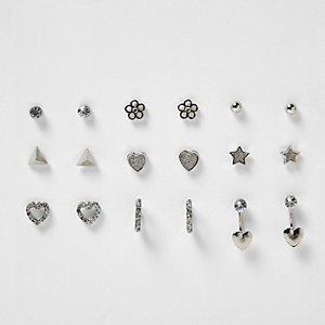 Girls silver tone stud earrings pack