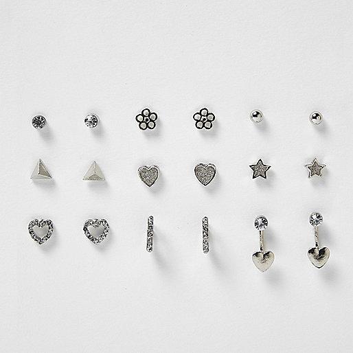 Girls silver tone stud earrings pack