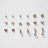 Girls rose gold tone earrings pack