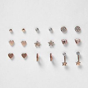 Girls rose gold tone earrings pack