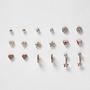 Lot de boucles d'oreilles façon or rose pour fille