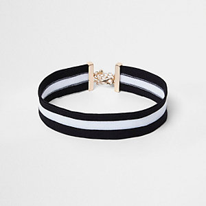 Girls black and white sports choker