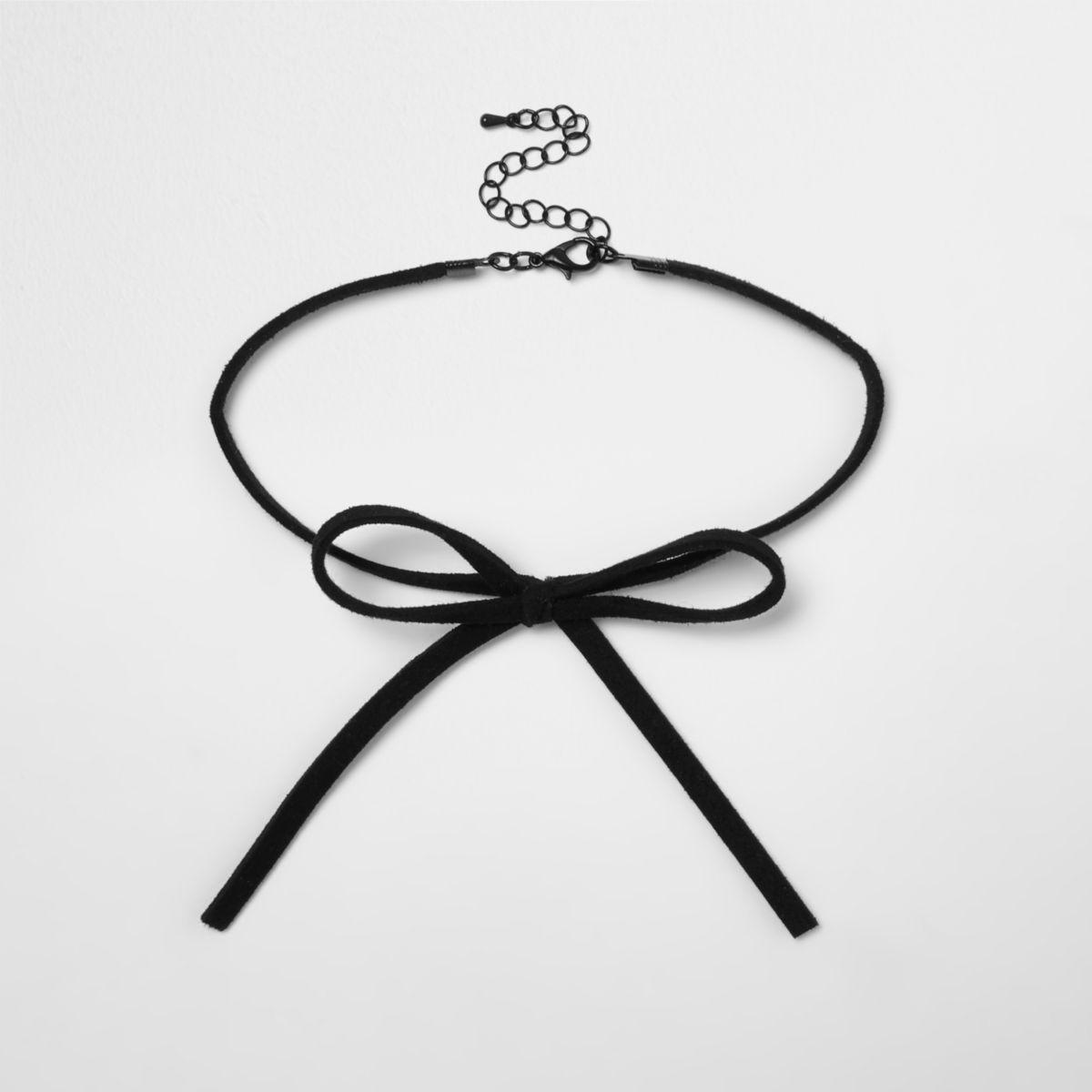 Girls black wrap bow choker