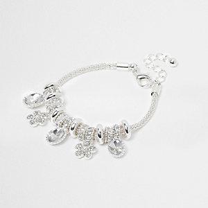 Girls silver tone charm bracelet