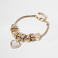 Girls gold crystal charm bracelet