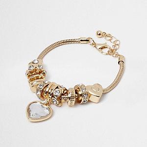Girls gold crystal charm bracelet