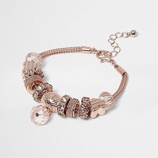 Girls rose gold crystal charm bracelet