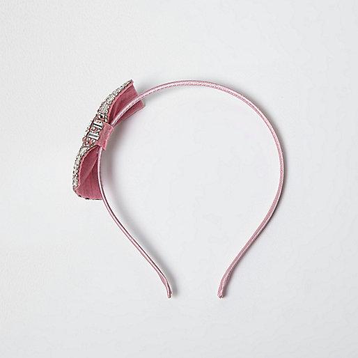 Girls pink diamanté bow hair band