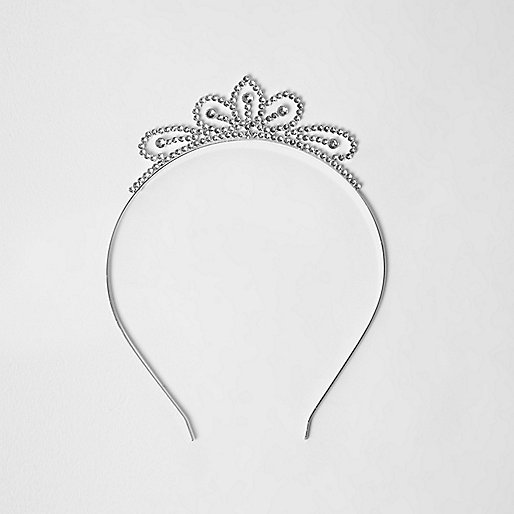 Girls silver tone embellished tiara