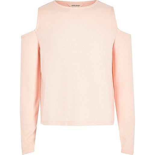 Girls pink cold shoulder top