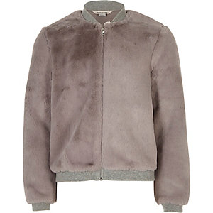 Girls grey furry bomber jacket