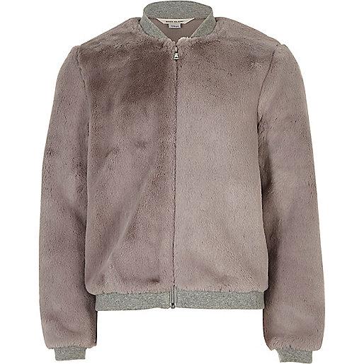 Girls grey furry bomber jacket