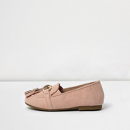 Mini girls pink tassel loafers