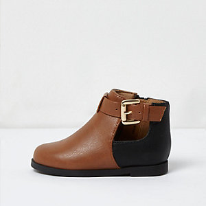 Mini girls brown two tone western boots