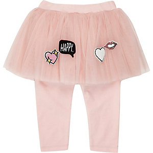 Mini girls pink badge tutu leggings
