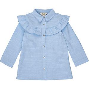 Chemise bleue à volants mini fille