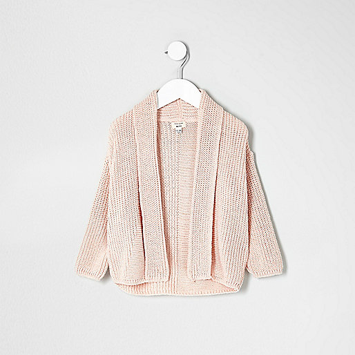 Mini girls pink chunky knit open cardigan