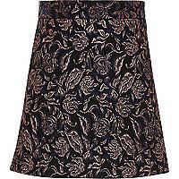Girls navy print A-line skirt