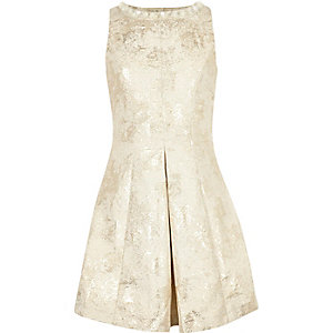 Girls cream print jacquard skater dress