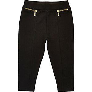 Mini - Zwarte legging met rits voor meisjes