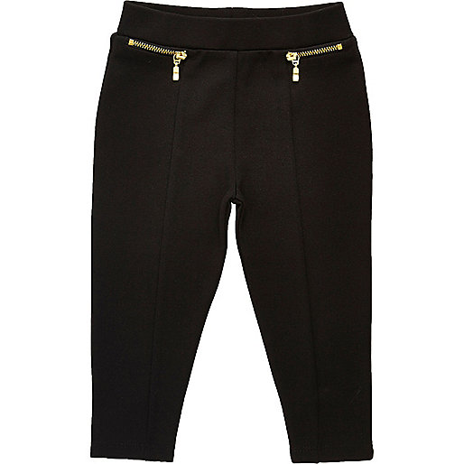 Mini girls black zip front leggings