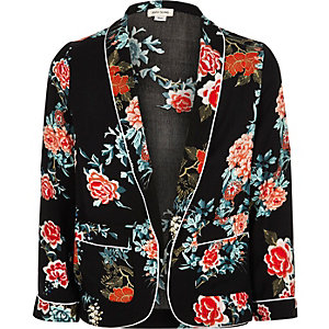 Girls black floral print open blazer