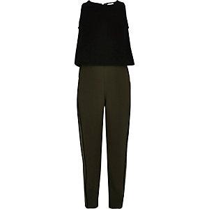 Jumpsuit met kaki en zwarte kleurvlakken voor meisjes