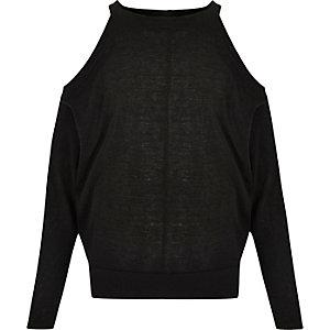 Zwarte schouderloze top met vleermuismouwen voor meisjes