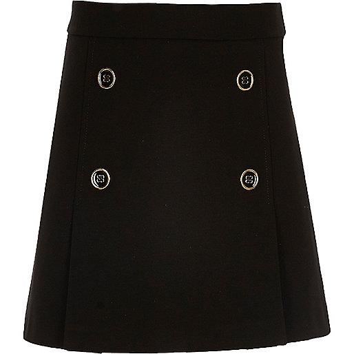 Girls black military A-line skirt