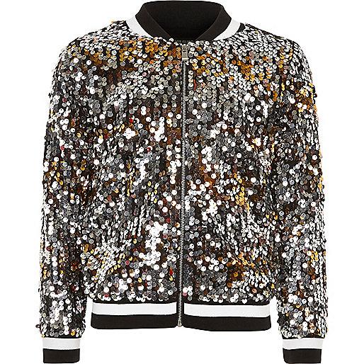 Girls black disco sequin bomber jacket