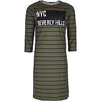 Girls khaki green stripe column dress