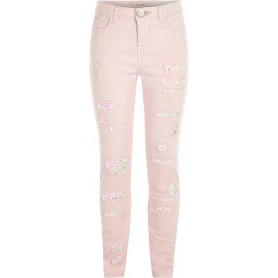 Lichtroze ripped skinny jeans met lovertjes voor meisjes
