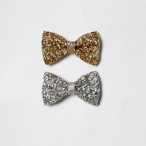 Girls gold and silver sparkly hair bow clips