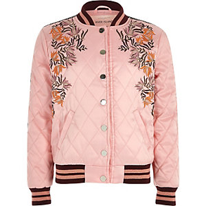 Girls pink embroidered quilt bomber jacket