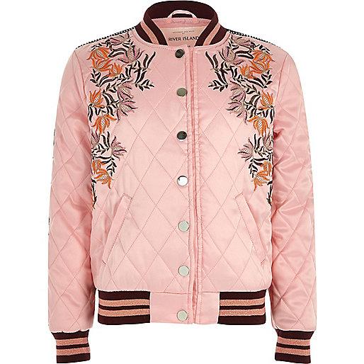 Girls pink embroidered quilt bomber jacket