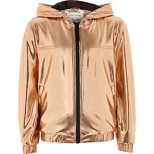 RI Active Girls gold  hooded bomber jacket