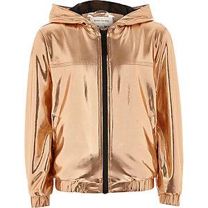 RI Active Girls gold  hooded bomber jacket