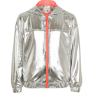 Girls RI Active silver hooded bomber jacket