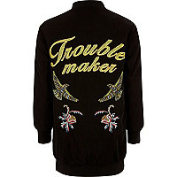 Girls black embroidered back bomber jacket