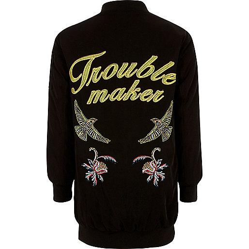 Girls black embroidered back bomber jacket