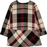 Mini girls red check stud dress