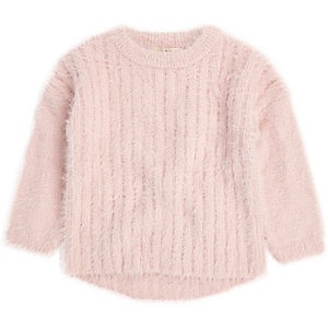 Mini girls light pink fluffy knit jumper