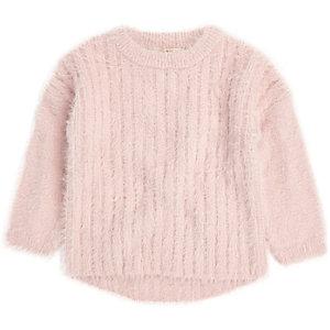 Pull en maille duveteuse rose clair mini fille