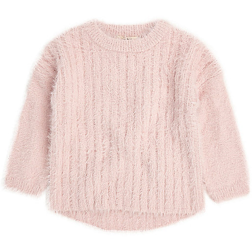 Mini girls light pink fluffy knit jumper