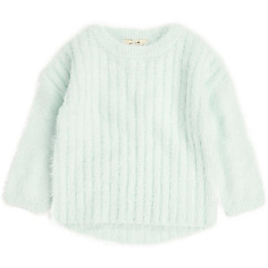 Mini girls green fluffy knit sweater